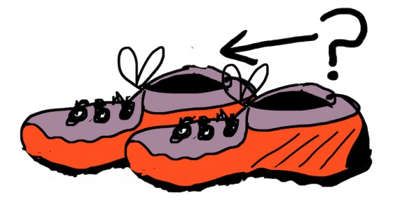 drawing of running shoes