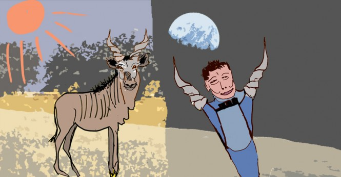 cartoon of a person and an animal