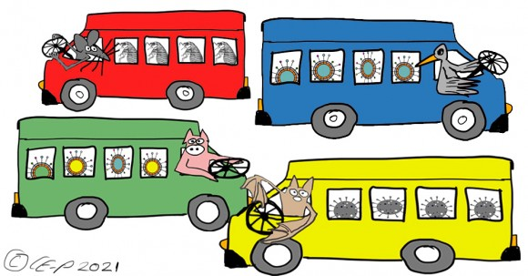 cartoon buses driven by animals